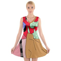 Imaginative Abstraction V-neck Sleeveless Skater Dress by Valentinaart