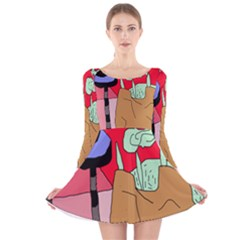Imaginative Abstraction Long Sleeve Velvet Skater Dress by Valentinaart