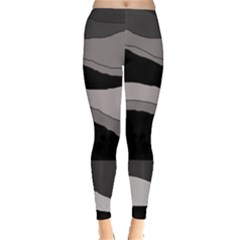 Black And Gray Design Leggings  by Valentinaart