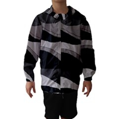 Black And Gray Design Hooded Wind Breaker (kids) by Valentinaart