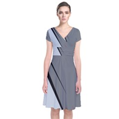 Elegant Gray Short Sleeve Front Wrap Dress by Valentinaart