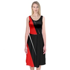 Black And Red Design Midi Sleeveless Dress by Valentinaart