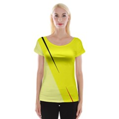 Yellow Design Women s Cap Sleeve Top by Valentinaart