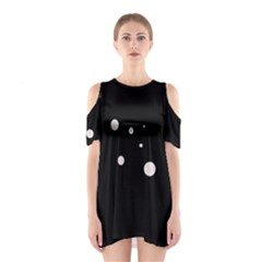 White Dots Cutout Shoulder Dress by Valentinaart