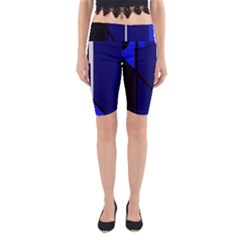 Blue Abstraction Yoga Cropped Leggings by Valentinaart