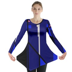 Blue Abstraction Long Sleeve Tunic  by Valentinaart