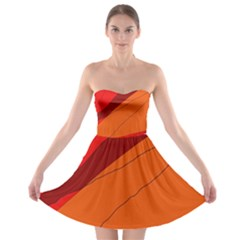 Red And Orange Decorative Abstraction Strapless Dresses by Valentinaart