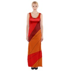 Red And Orange Decorative Abstraction Maxi Thigh Split Dress by Valentinaart
