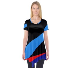 Colorful Abstraction Short Sleeve Tunic  by Valentinaart