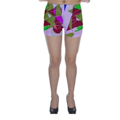 Flora Abstraction Skinny Shorts by Valentinaart