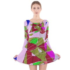 Flora Abstraction Long Sleeve Velvet Skater Dress by Valentinaart