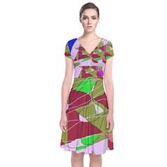 Flora Abstraction Short Sleeve Front Wrap Dress by Valentinaart