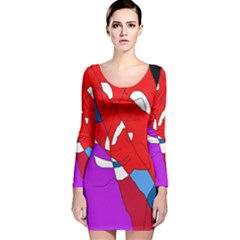 Colorful Abstraction Long Sleeve Velvet Bodycon Dress by Valentinaart