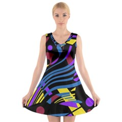 Optimistic Abstraction V Neck Sleeveless Skater Dress by Valentinaart