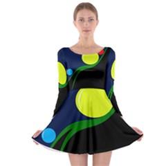Falling  Ball Long Sleeve Skater Dress by Valentinaart