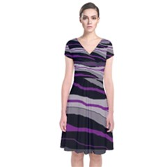 Purple And Gray Decorative Design Short Sleeve Front Wrap Dress by Valentinaart