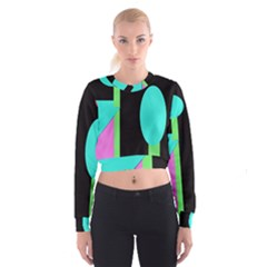 Abstract Landscape Women s Cropped Sweatshirt by Valentinaart