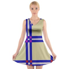 Elegant Lines V-neck Sleeveless Skater Dress by Valentinaart
