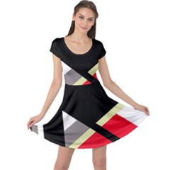Red And Black Abstraction Cap Sleeve Dresses by Valentinaart