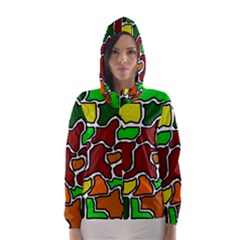 Africa Abstraction Hooded Wind Breaker (women) by Valentinaart