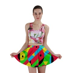 Colorful Geometrical Abstraction Mini Skirt by Valentinaart