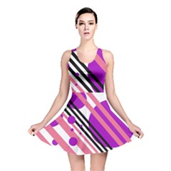 Purple Lines And Circles Reversible Skater Dress by Valentinaart