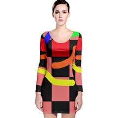 Multicolor Abstraction Long Sleeve Velvet Bodycon Dress by Valentinaart