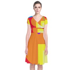 Colorful Abstraction Short Sleeve Front Wrap Dress by Valentinaart