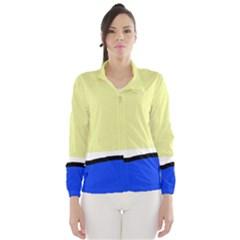 Yellow And Blue Simple Design Wind Breaker (women) by Valentinaart