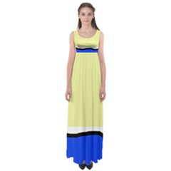 Yellow And Blue Simple Design Empire Waist Maxi Dress by Valentinaart