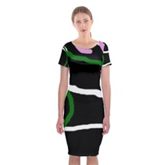 Decorative Lines Classic Short Sleeve Midi Dress by Valentinaart