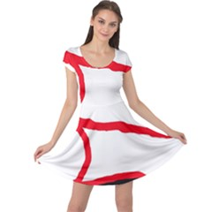 Red, Black And White Design Cap Sleeve Dresses