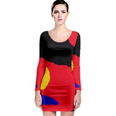 Colorful Abstraction Long Sleeve Bodycon Dress by Valentinaart