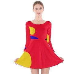 Colorful Abstraction Long Sleeve Velvet Skater Dress by Valentinaart
