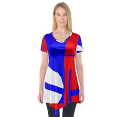 Blue, Red, White Design  Short Sleeve Tunic  by Valentinaart