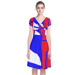Blue, Red, White Design  Short Sleeve Front Wrap Dress by Valentinaart
