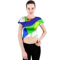 Colorful Abstraction Crew Neck Crop Top by Valentinaart