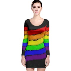 Rainbow Long Sleeve Velvet Bodycon Dress by Valentinaart