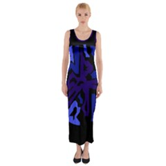 Deep Blue Abstraction Fitted Maxi Dress by Valentinaart
