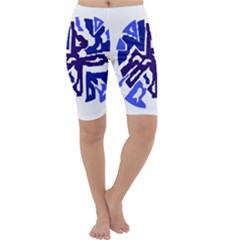 Deep Blue Abstraction Cropped Leggings  by Valentinaart