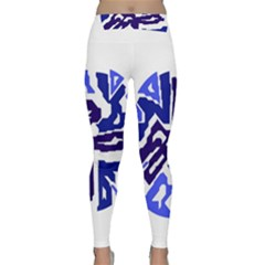 Deep Blue Abstraction Yoga Leggings by Valentinaart