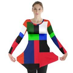 Colorful Abstraction Long Sleeve Tunic  by Valentinaart
