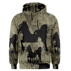 Wonderful Black Horses, With Floral Elements, Silhouette Men s Pullover Hoodie by FantasyWorld7