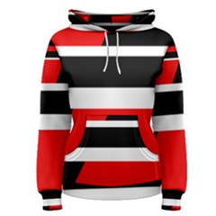 Red, White And Black Abstraction Women s Pullover Hoodie by Valentinaart