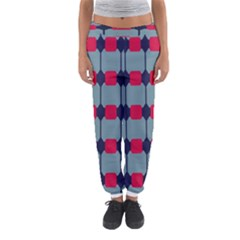 Red Blue Shapes Pattern                                                                                     Women s Jogger Sweatpants by LalyLauraFLM