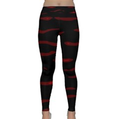 Red And Black Yoga Leggings by Valentinaart