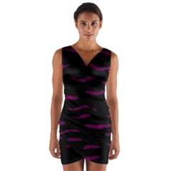 Purple And Black Wrap Front Bodycon Dress by Valentinaart