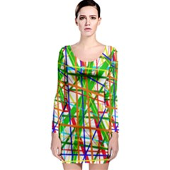 Colorful Lines Long Sleeve Bodycon Dress by Valentinaart