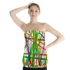 Colorful Lines Strapless Top by Valentinaart