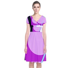 Purple Geometric Design Short Sleeve Front Wrap Dress by Valentinaart